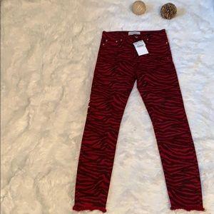 NWT Zara High Waist Zebra Print Jeans